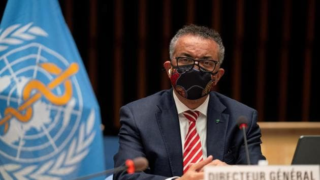 Tedros Adhanom Ghebreyesus, Director General of the World Health Organization (WHO) attends a session on the coronavirus disease outbreak response of the WHO Executive Board in Geneva.(REUTERS)