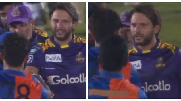 Shahid Afridi in a heated exchanged with Naveen-ul-Haq.(Twitter)