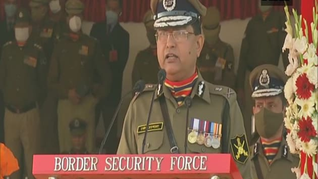 BSF DG Rakesh Asthana speaks at an event was organised at BSF Chhawla camp on BSF raising day.(ANI)