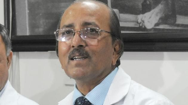 PGIMER director, Prof Jagat Ram, has said a decision to open the OPDs to all patients once the number of cases drops to below 50 a day.(HT Photo)