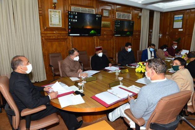 Chief minister Jai Ram Thakur presiding over a cabinet meeting in Shimla on Tuesday.(Deepak Sansta/HT)