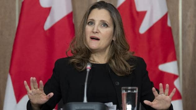 Chrystia Freeland, Canada's deputy prime minister and minister of finance, speaks during a news conference in Ottawa, Ontario on November 30, 2020.(Bloomberg)