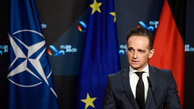 German Foreign Minister Heiko Maas speaks during a virtual news conference at the Federal Foreign Office in Berlin.(REUTERS)