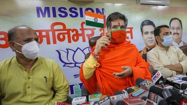 Jammu and Kashmir BJP President Ravinder Raina addresses a press conference at the party office in Jammu.(PTI/ File photo)