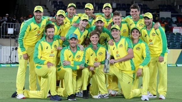 Australian ODI team after winning series against India 2-1 at home.(Twitter/ICC)