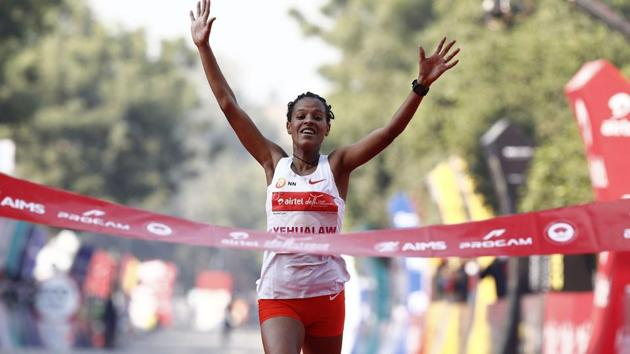 ADHM 2020-Overall Elite Women winner Ethopia's Yalemzerf Yehualaw at the finish line.(Airtel)