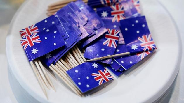 Australian flag cocktail sticks are seen at Australia's food booth at the third China International Import Expo (CIIE) in Shanghai.(REUTERS)