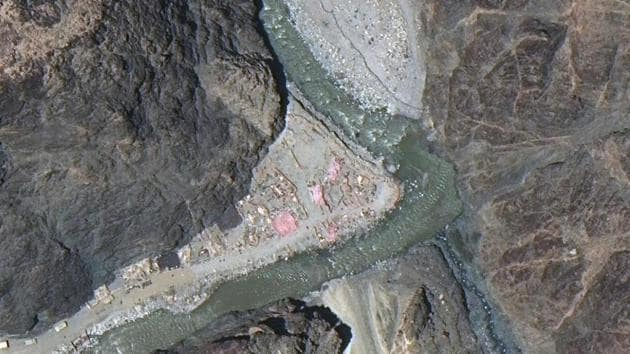 Maxar WorldView-3 satellite image shows close up view of the LAC border and patrol point 14 in the eastern Ladakh sector of Galwan Valley.(File photo)