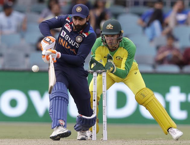 Canberra: India's Ravindra Jadeja, left, plays a shot in ffront of Australia's Alex Carey during their one day international cricket match at Manuka Oval in Canberra, Australia, Wednesday, Dec. 2, 2020. AP/PTI(AP02-12-2020_000047A) (AP)