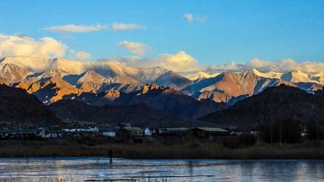 A view of the frozen Ghupuks Lake is seen near Leh, the joint capital of the union territory of Ladakh.(AFP)
