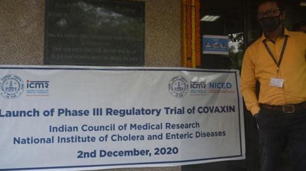 Launch of Phase III regulatory trial of the Covaxin coronavirus vaccine, at NICED Beleghata in Kolkata.(HT Photo/Samir Jana)