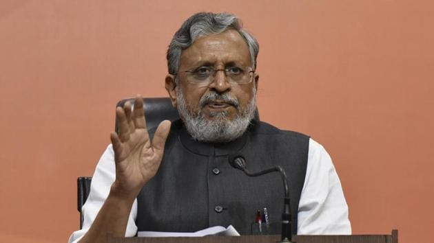 Sushil Modi has been made the candidate for the Rajya Sabha seat that got vacated after the death of Lok Janshakti Party leader and former union minister Ram Vilas Paswan.(Vipin Kumar/HT PHOTO)