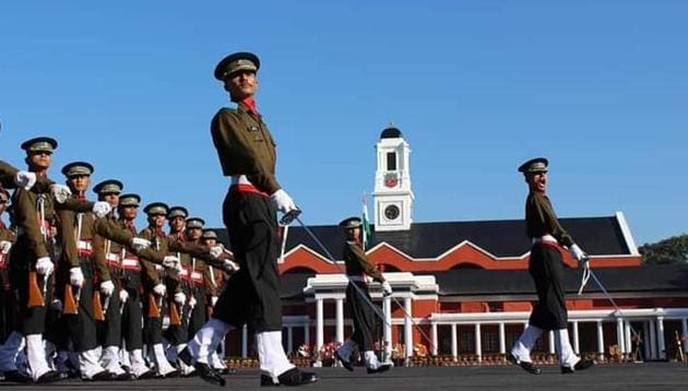 Gentleman Cadets at an earlier passing out parade in IMA, Dehradun.(HT file)