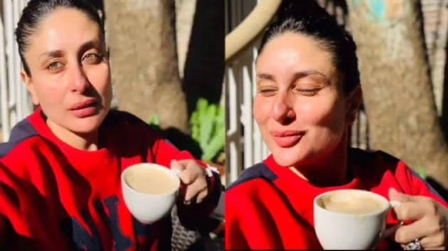 Kareena Kapoor sips coffee in Dharamshala.