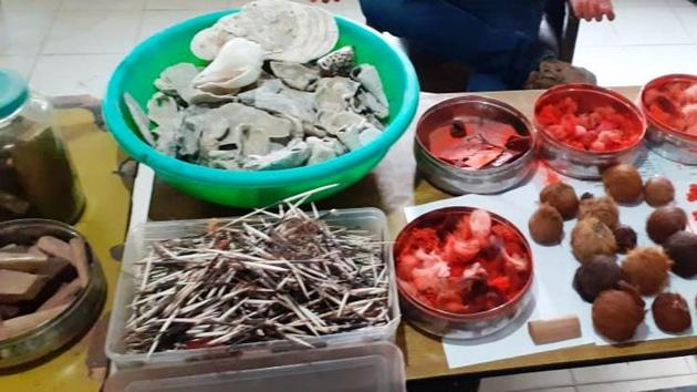 Animal parts seized during the raids in Guwahati on Wednesday.(WCCB PHOTO)