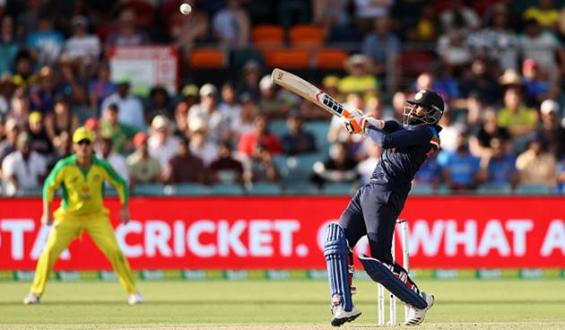 Ravindra Jadeja deposits one into the stands.(Getty Images)