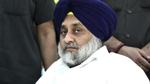 Sukhbir Badal said the government is forcing the farmers to accept the recently passed farm bills during the monsoon session.(Ravi Kumar /HT Photo)