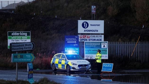 Police blocks the entrance to the site of an explosion near Bristol, Britain.(REUTERS)