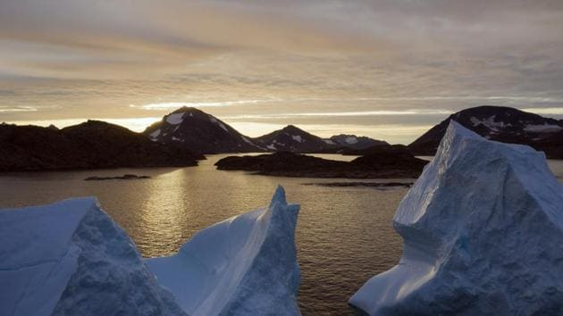 An aerial view of large Icebergs floating as the sun rises near Kulusuk, Greenland. Greenland has been melting faster in the last decade.(AP/ File photo)