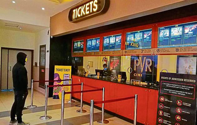 The ticket counter wears a desolate look at PVR Cinemas, Silver Arc Mall, Ludhiana on Thursday.(Harsimar Pal Singh/HT)