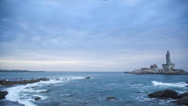 Cloudy weather conditions in Kanyakumari on December 2 ahead of cyclone Burevi's expected landfall.(PTI)