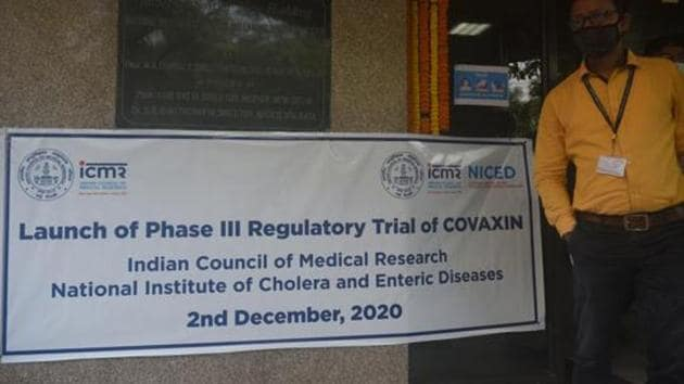Phase III trial of Covaxin was launched at NICED Beleghata in Kolkata, West Bengal, on December 2.(HT photo/Samir Jana)