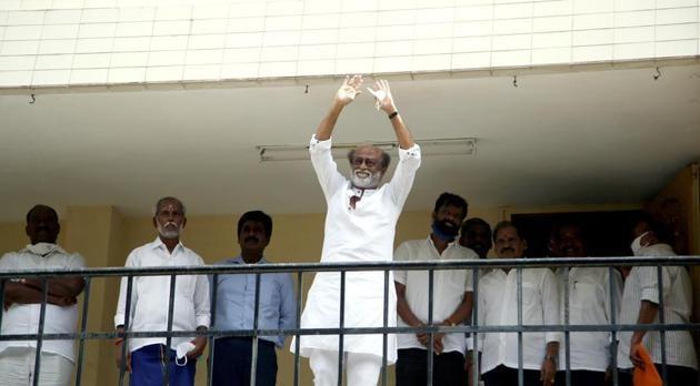Tamil Nadu, Nov 30 (ANI): Actor Rajinikanth arrives to meet the officer bearers of the Rajini Makkal Mandram, at the Raghavendra Kalyana Mandapam in Chennai on Monday. (ANI Photo)(ANI)