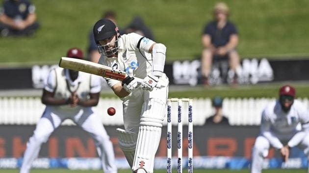 New Zealand batsman Kane Williamson bats during play on day one of the first cricket test against the West Indies in Hamilton, New Zealand.(AP)