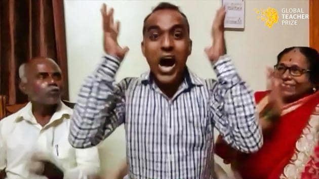 Maharashtra schoolteacher Ranjitsinh Disale reacts on being announced as the winner of the USD 1mn Global Teacher Prize 2020, Thursday, Dec. 3, 2020.(PTI)