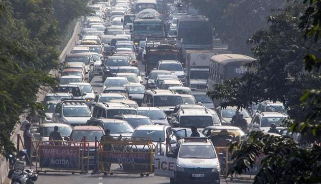 Vehicles stuck in a traffic jam during farmers' protest march at DND Flyway in Noida, on December 2.(File photo)