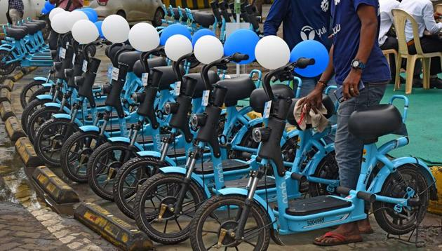 The electric bikes were launched on August 31 at BKC.(Vijayanand Gupta/HT)