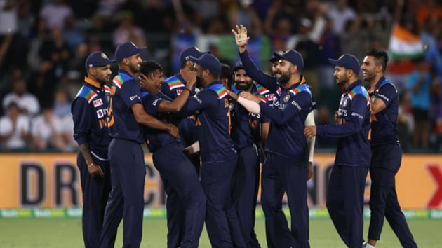 India celebrate the 1st T20I. (BCCI/Twitter)