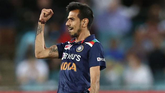 Yuzvendra Chahal celebrates one of his three wickets.(Getty Images)