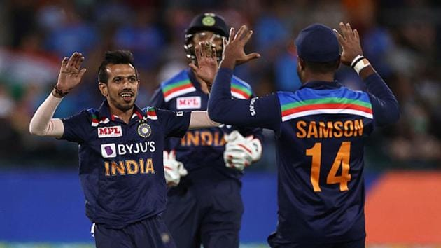 Yuzvendra Chahal celebrates the wicket of Aaron Finch(Getty Images)