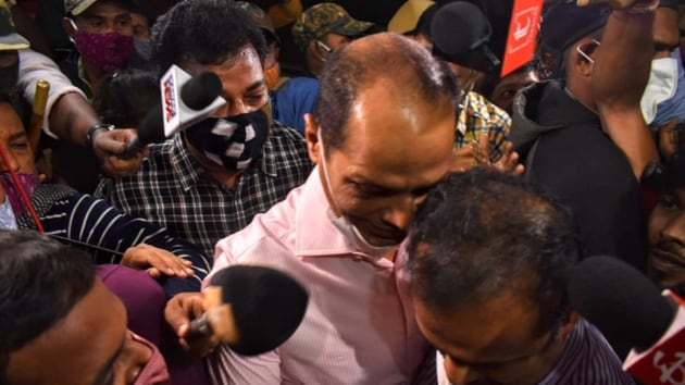 Pradeep Panigrahy being produced in a court on Thursday night.(HT PHOTO)