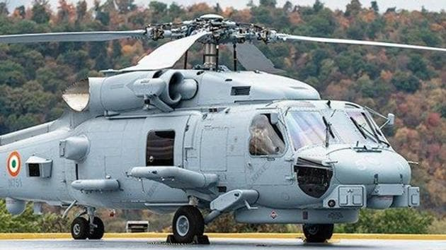 The MH-60 Romeo chopper which will be inducted in the Indian Navy.(Twitter/@LMIndiaNews)