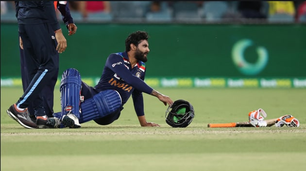 Ravindra Jadeja after being hit on helmet.(BCCI/Twitter)