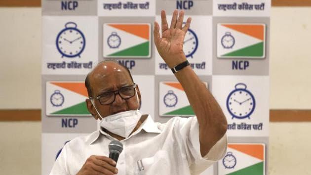 NCP chief Sharad Pawar congratulated the MVA candidates on winning the legislative council polls.(Satish Bate/HT Photo)