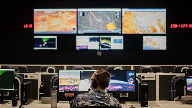 The Range Operations centre of the Royal Australian Air Force's Woomera Range Complex in South Australia.(AFP)