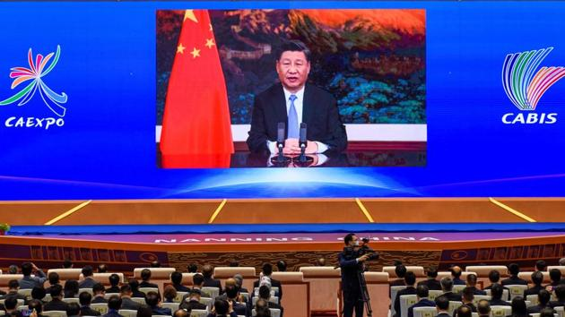 A file photo of Chinese President Xi Jinping delivering a speech via video at the ASEAN Expo in Nanning, in southern China's Guangxi province on November 27, 2020.(AFP/ FILE)
