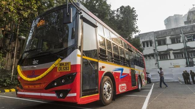 One of Mumbai's first e-buses at the Wadala depot.(HT archive)