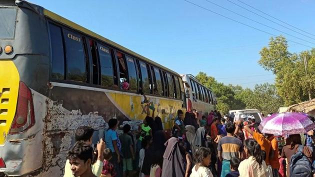 On Thursday, 11 passenger buses carrying the refugees left Cox's Bazar on the way to the island, they camped overnight in school buildings in the southeastern city of Chittagong(REUTERS)