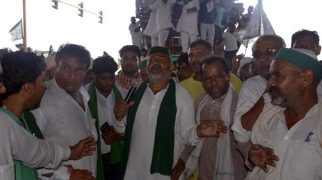 Bharatiya Kisan Union leader Rakesh Tikait .(HT photo)