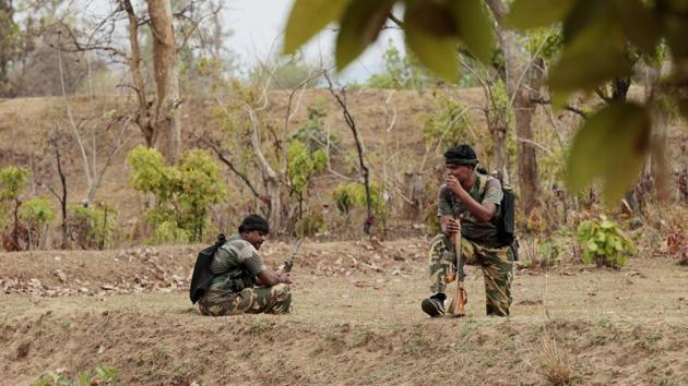 A joint team of district reserve guard (DRG) and Central Reserve Police Force (CRPF) engaged a group of Maoists in a gunfight in a forest in Chhattisgarh's Bijapur district.(Representational image/HT PHOTO)