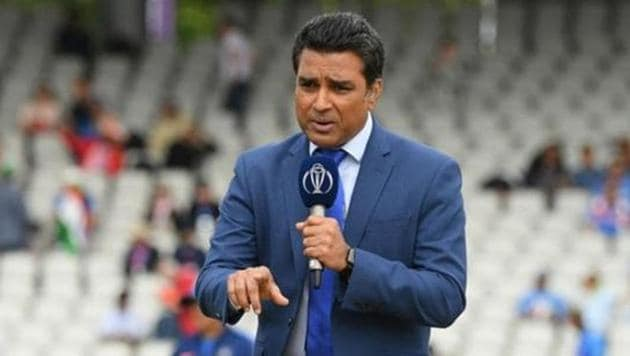 Sanjay Manjrekar and during the Semi-Final match of the ICC Cricket World Cup 2019 between India and New Zealand at Old Trafford on July 10, 2019 in Manchester.(ICC via Getty Images)