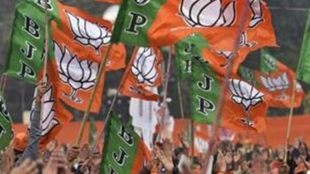 File photo: Bharatiya Janta Party (BJP) supporters wave party flags.(Burhaan Kinu/HT PHOTO)
