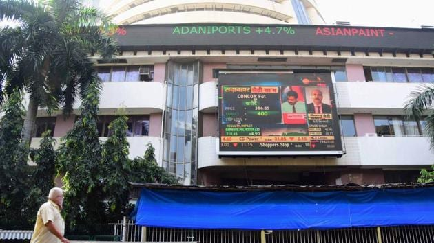 Mumbai: A digital screen on the facade of the Bombay Stock Exchange (BSE) building(PTI)