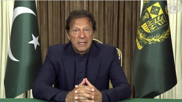 In this image made from UNTV video, Pakistan PM Imran Khan speaks in a pre-recorded message which was played during the UN General Assembly's special session to discuss the response to Covid-19 .(AP)