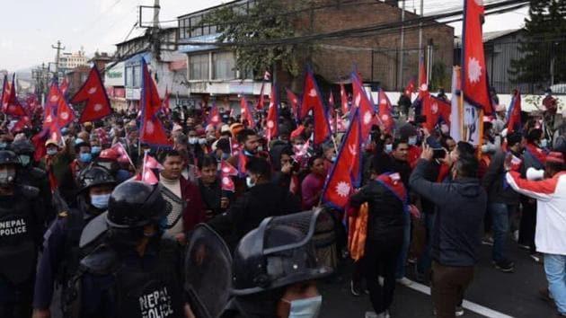 Demonstration held in Nepal's capital Kathmandu, demanding restoration of monarchy in the country.(ANI/Twitter)