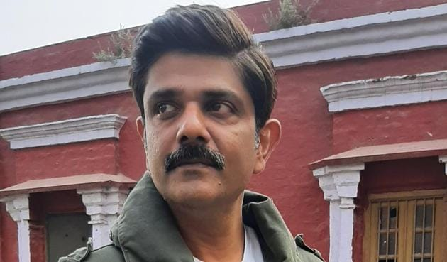 Actor Amit Sial during a shoot of an OTT series in Lucknow(Deep Saxena/HT)